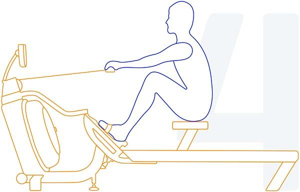 Bildet beskriver hvordan en utøver utfører riktig roteknikk steg 4