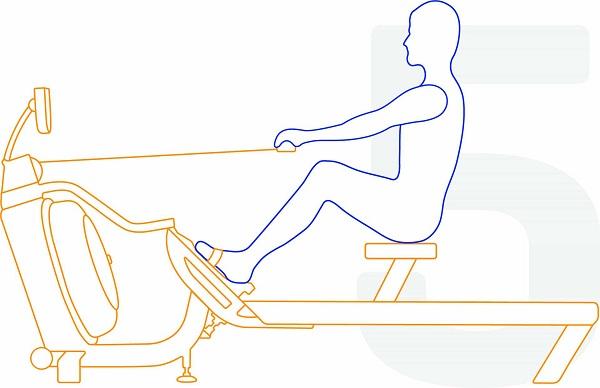 Bildet beskriver hvordan en utøver utfører riktig roteknikk steg 5