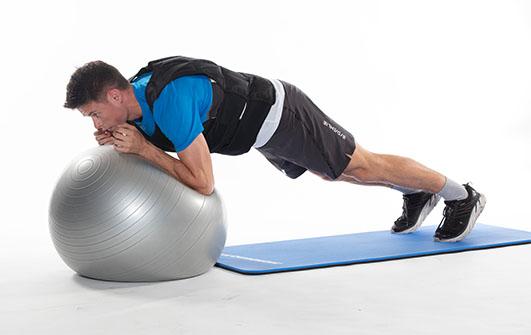 Plankeøvelse på pilatesball