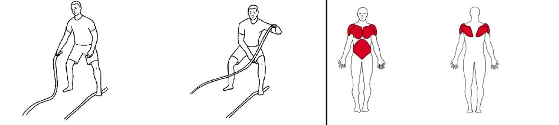 Illustrasjons bilde av utførelse av battlerope bue med en arm