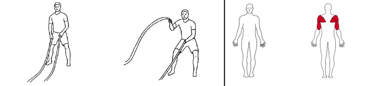 Illustrasjons bilde av utførelse av alternerende armer med battlerope