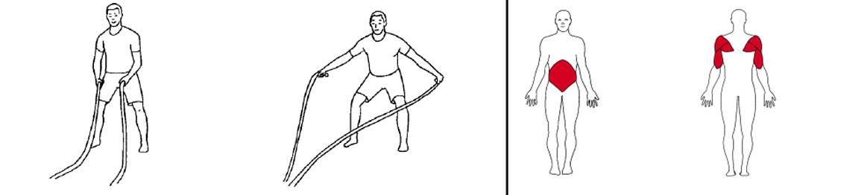 Illustrasjons bilde av utførelse avknestående, opp og ned alternerende med battlerope