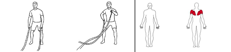 Illustrasjons bilde av utførelse av battlerope sirkler utover