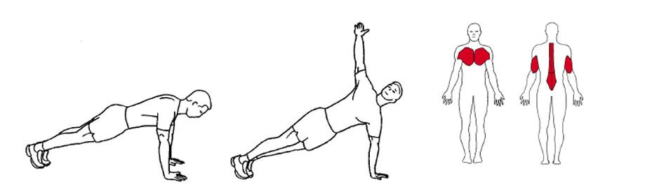 Illustrasjonsbilde av utførelse av push up med rotasjon