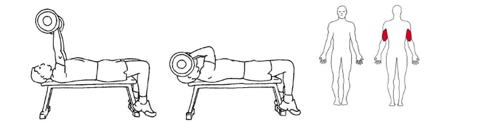 Illustrasjon viser utførelse av triceps øvelse