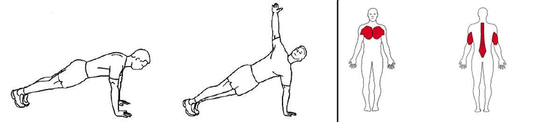 Illustrasjons bilde av push up med rotasjon øvelse på treningsmatte
