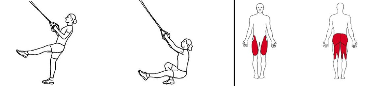 Illustrasjons bilde av ettbens knebøy i slynge
