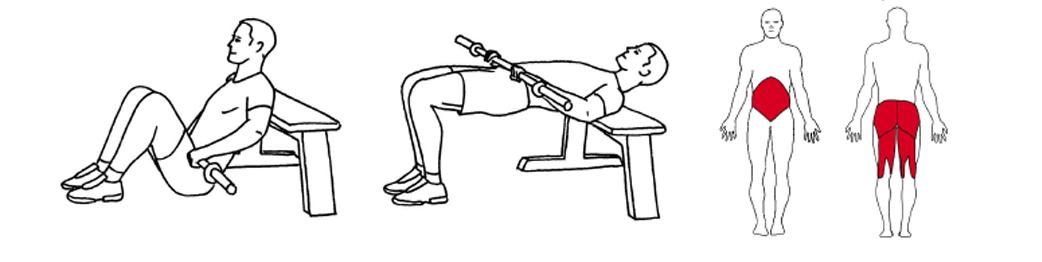 Illustrasjon av Hip thrust øvelse