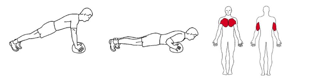 Illustrasjons bilde av utførelse av push up på ball