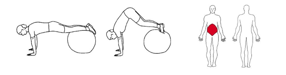 Illustrasjons bilde av utførelse av håndstående hoftebøy på ball