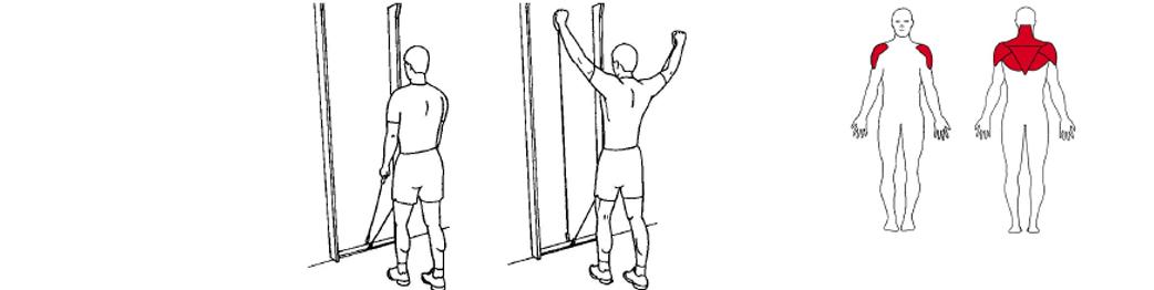 Illustrasjon av utførelse av stående y drag øvelse til tennistrening