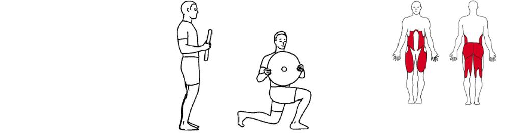 Illustrasjon av utførelse av utfall øvelse til tennistrening