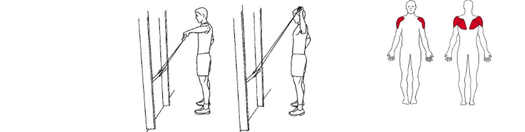 Illustrasjon av utførelse av skulderrotasjon øvelse til tennistrening