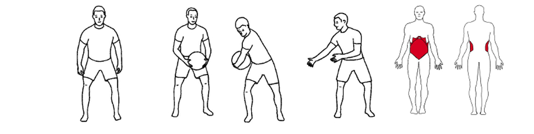 Illustrasjon av utførelse av rotasjon med kast øvelse til tennistrening