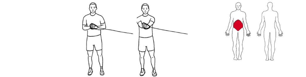 Illustrasjon av utførelse av pallof press øvelse til tennistrening