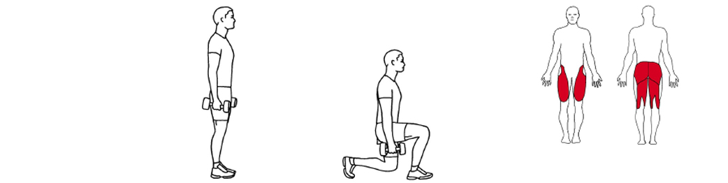 Illustrasjon av utførelse av gående utfall øvelse til tennistrening