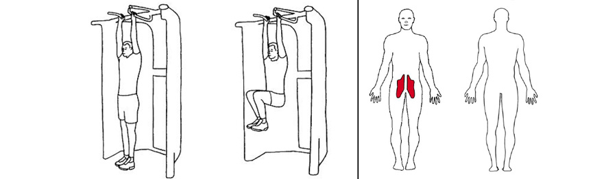 Illustrasjonsbilde av Hengende kneløft med trekkapparat
