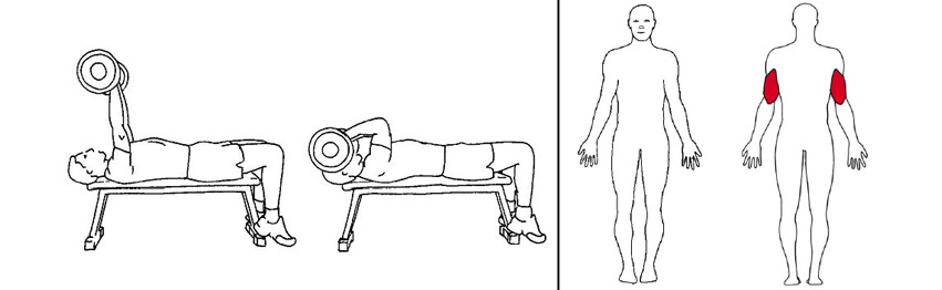 Illustrasjonsbilde av utførelse av liggende triceps press med vektstang